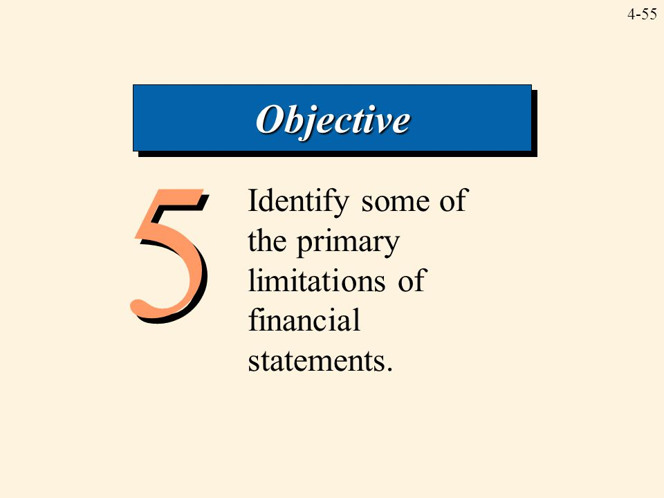 Objective 5 Identify some of the primary limitations of financial statements.