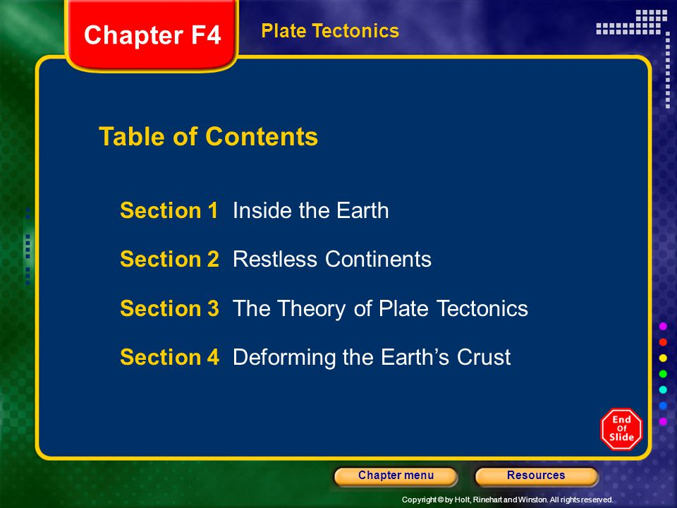 Chapter F4 Table of Contents Section 1 Inside the Earth