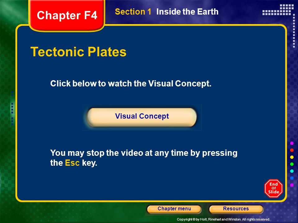 Tectonic Plates Chapter F4 Section 1 Inside the Earth
