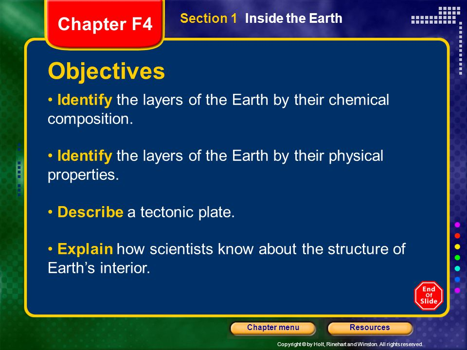 Chapter F4 Section 1 Inside the Earth. Objectives. Identify the layers of the Earth by their chemical composition.