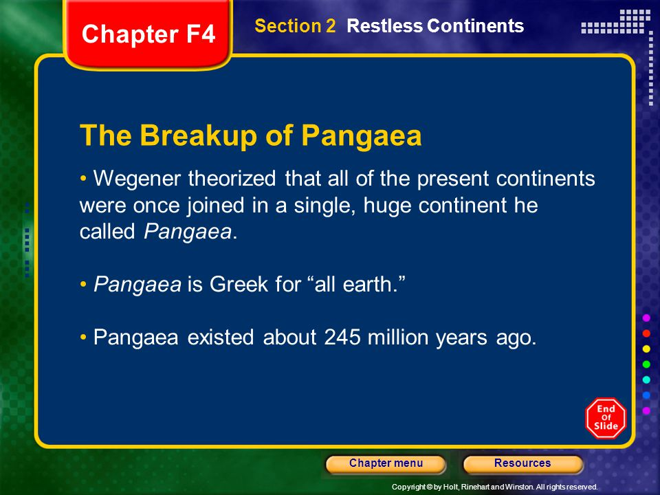 The Breakup of Pangaea Chapter F4