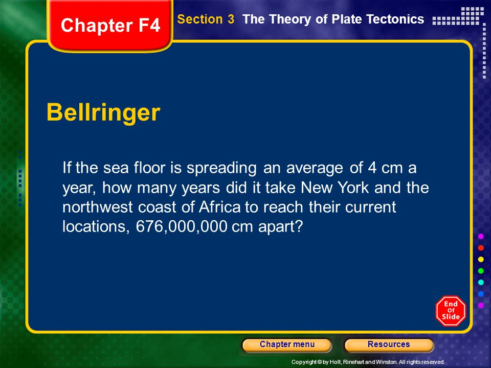 Chapter F4 Section 3 The Theory of Plate Tectonics. Bellringer.