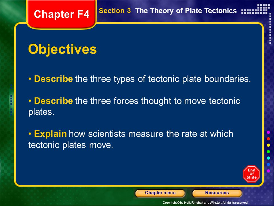 Chapter F4 Section 3 The Theory of Plate Tectonics. Objectives. Describe the three types of tectonic plate boundaries.