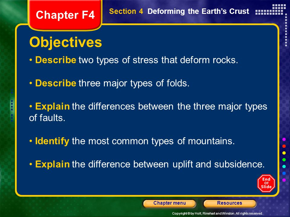 Objectives Chapter F4 Describe two types of stress that deform rocks.