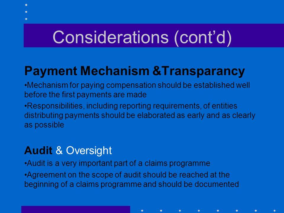 Considerations (cont'd)