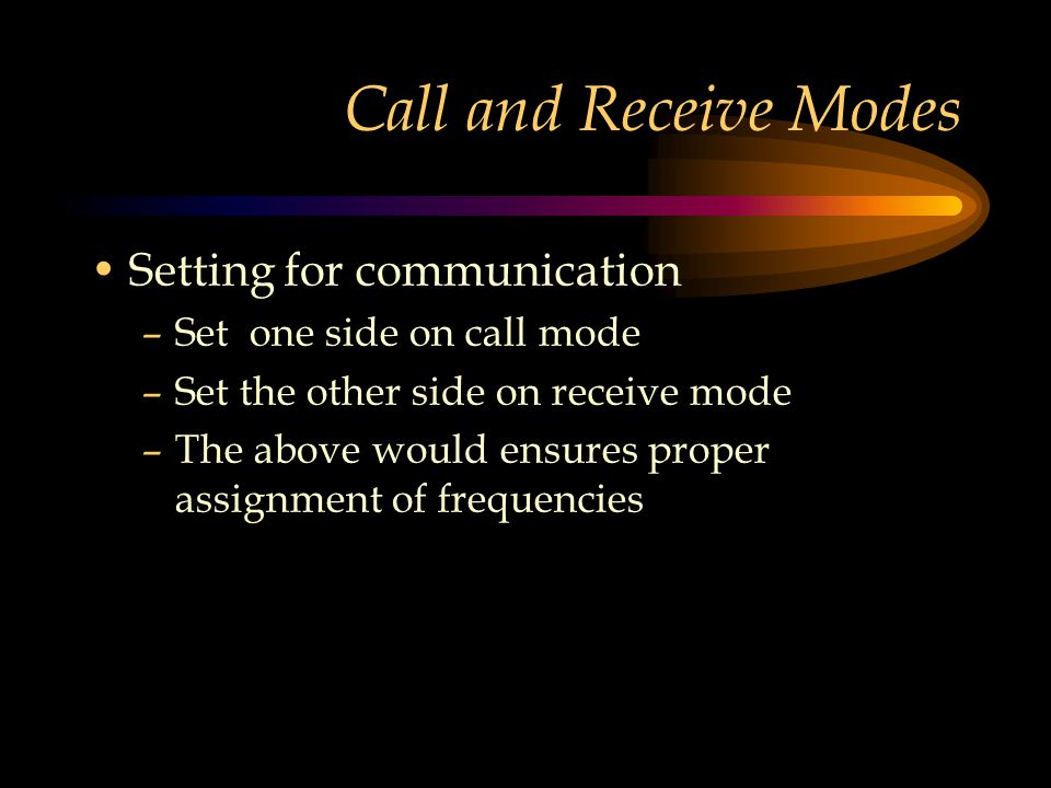 Call and Receive Modes Setting for communication