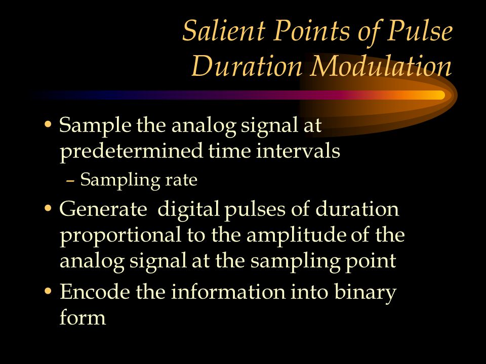 Salient Points of Pulse Duration Modulation