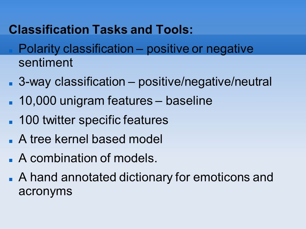 Classification Tasks and Tools: