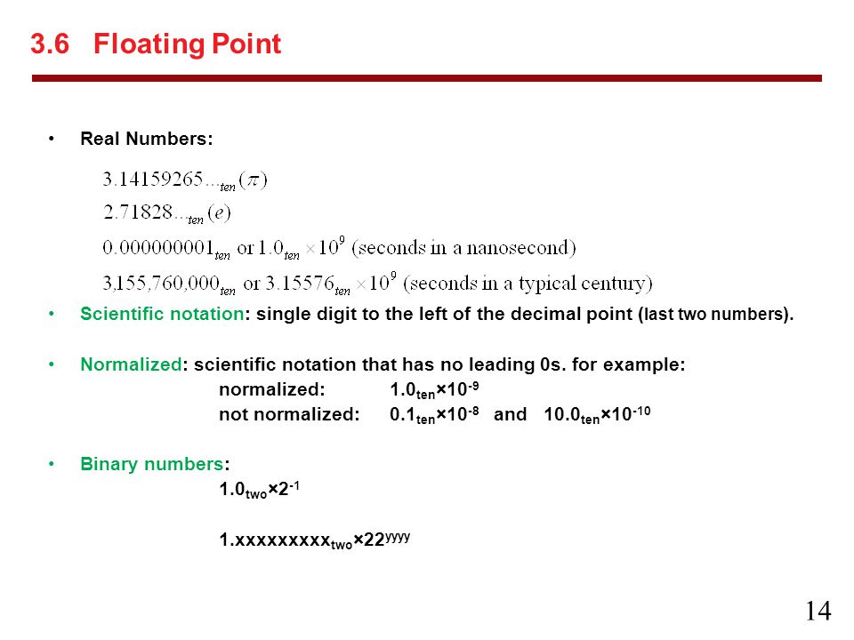 3.6 Floating Point Real Numbers: