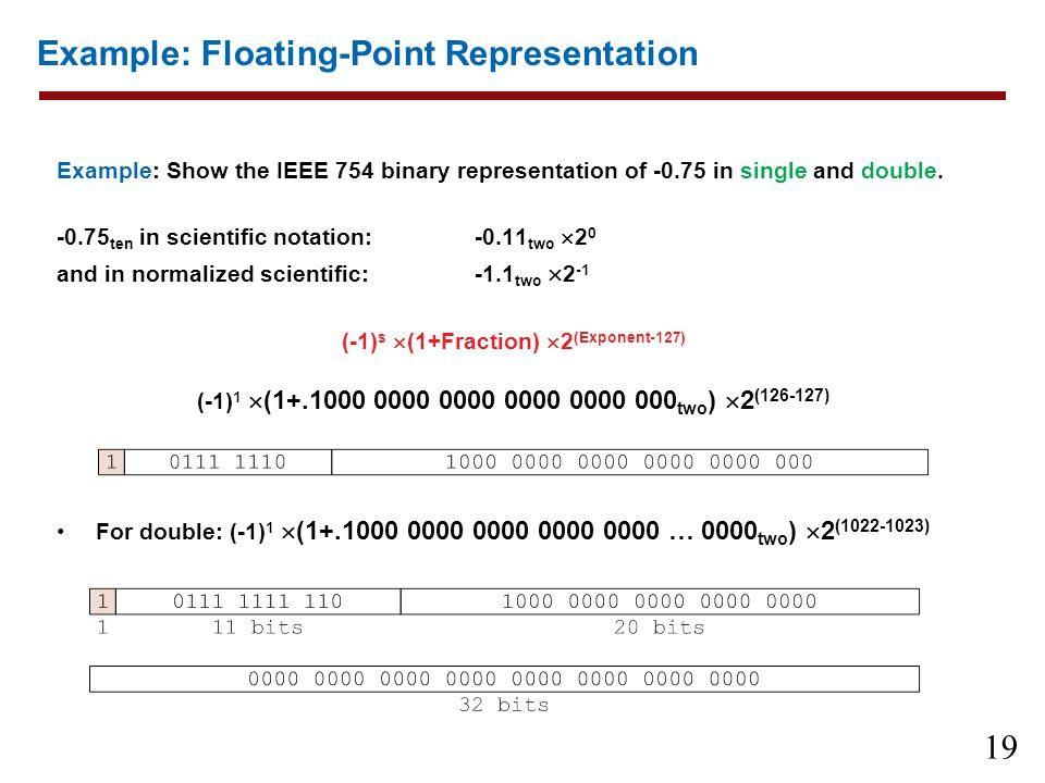Example: Floating-Point Representation