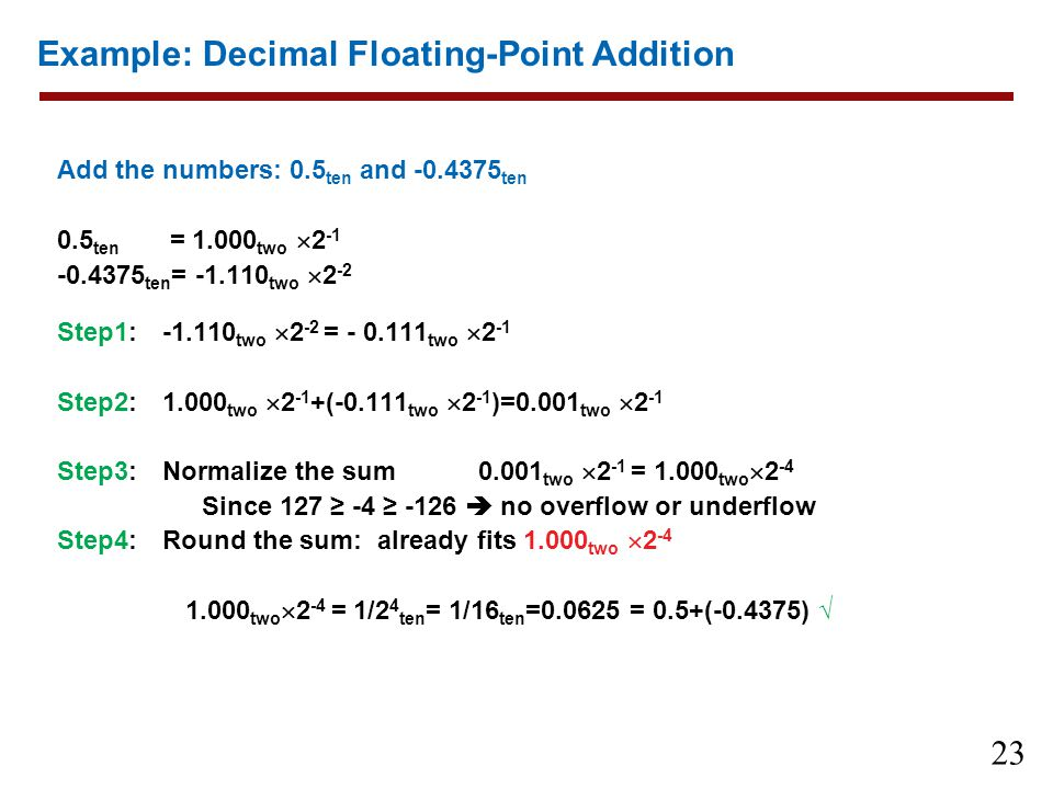 Example: Decimal Floating-Point Addition