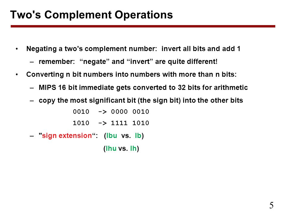 Two s Complement Operations