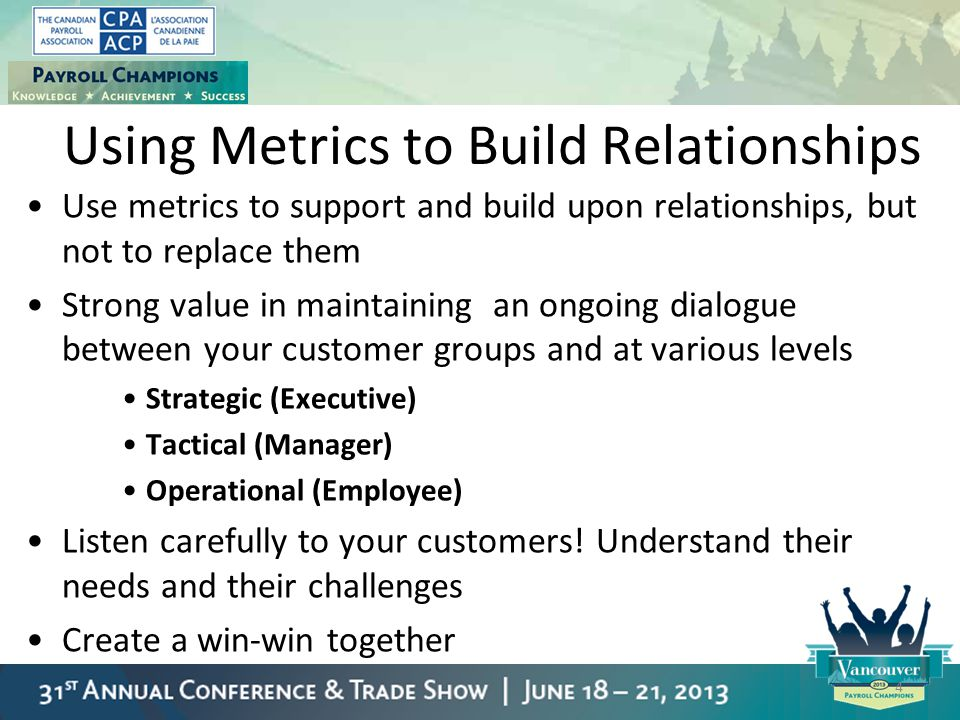Using Metrics to Build Relationships