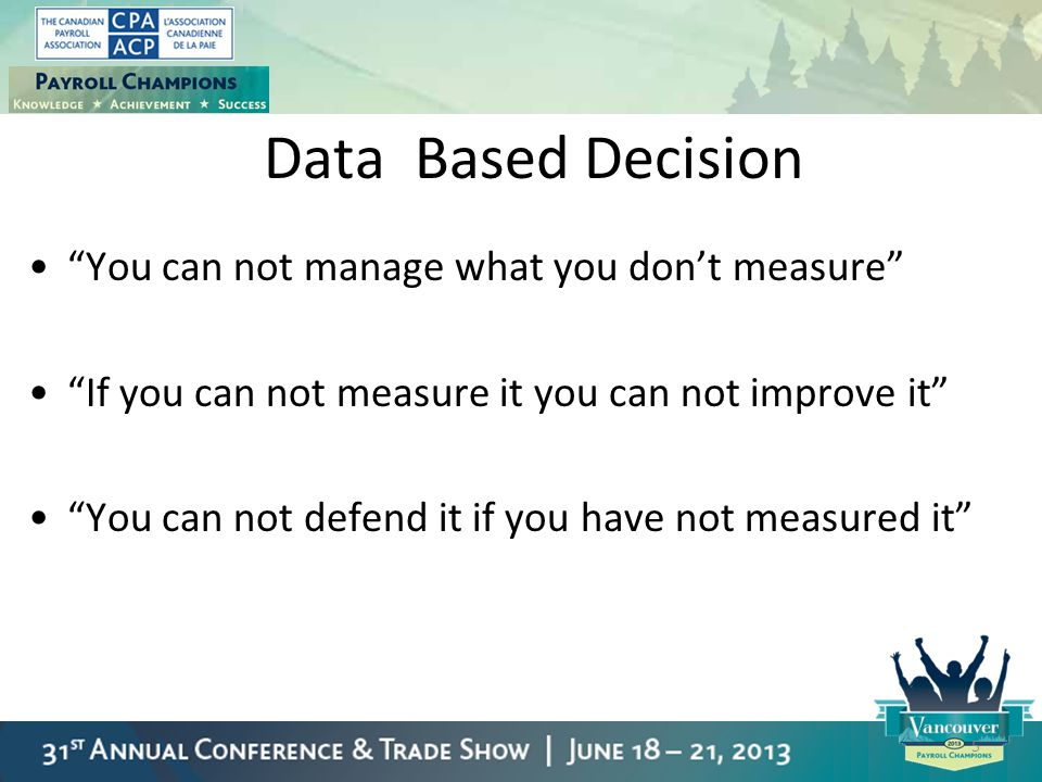 Data Based Decision You can not manage what you don't measure