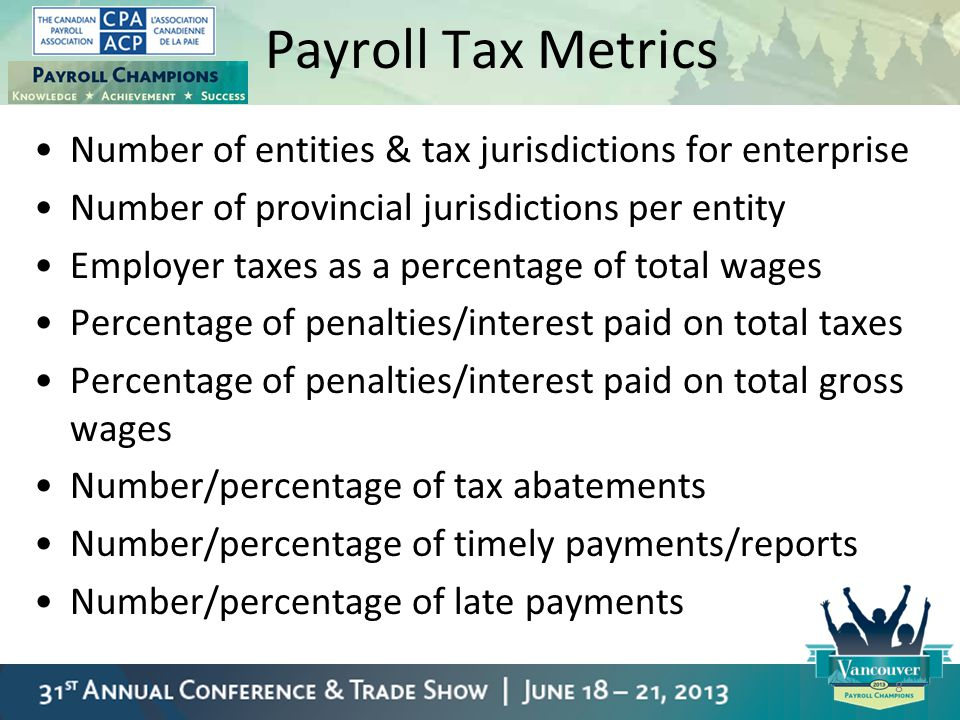 Payroll Tax Metrics Number of entities & tax jurisdictions for enterprise. Number of provincial jurisdictions per entity.