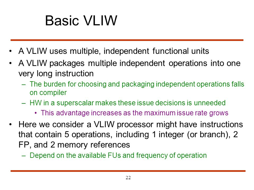 Basic VLIW A VLIW uses multiple, independent functional units