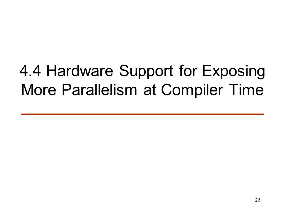 4.4 Hardware Support for Exposing More Parallelism at Compiler Time