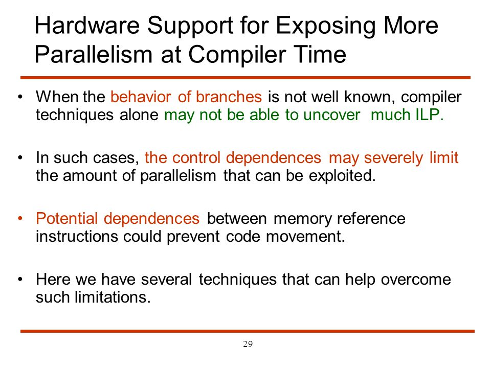 Hardware Support for Exposing More Parallelism at Compiler Time