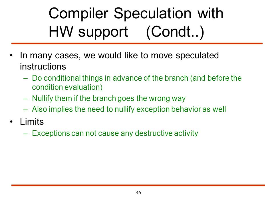 Compiler Speculation with HW support (Condt..)