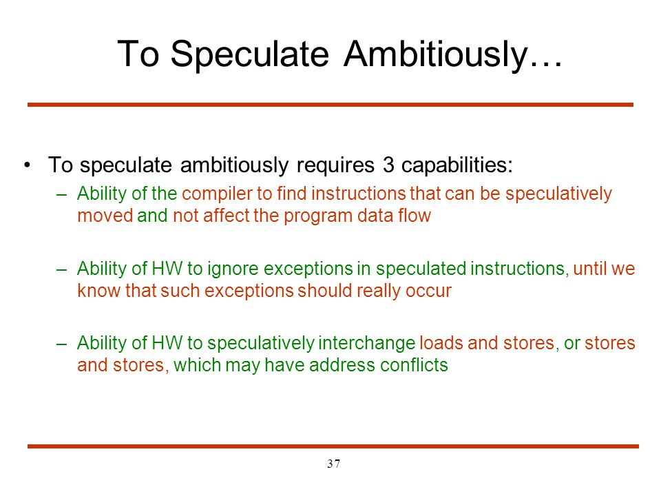 To Speculate Ambitiously…