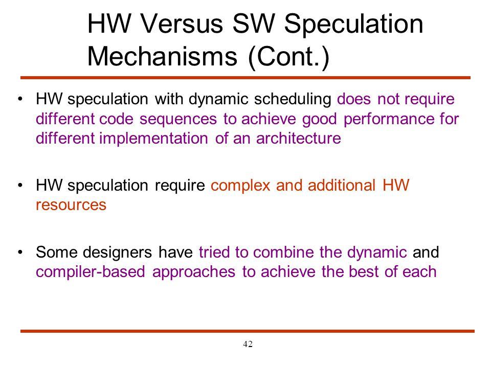 HW Versus SW Speculation Mechanisms (Cont.)