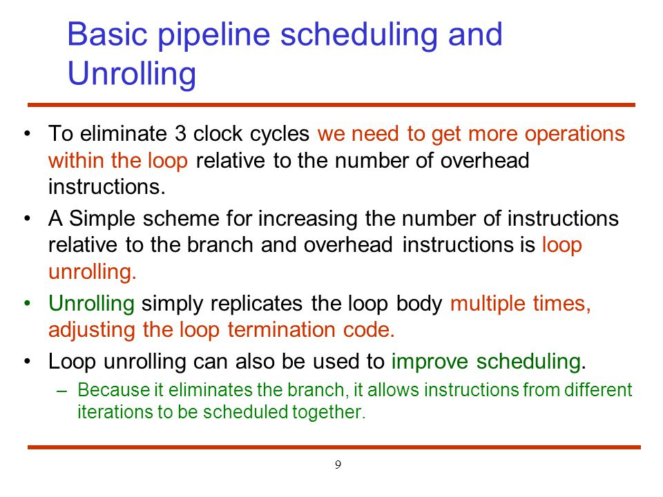 Basic pipeline scheduling and Unrolling
