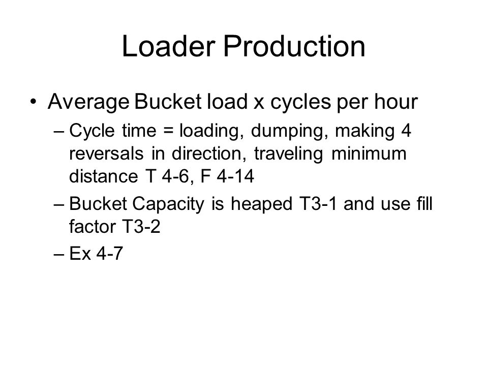 Loader Production Average Bucket load x cycles per hour