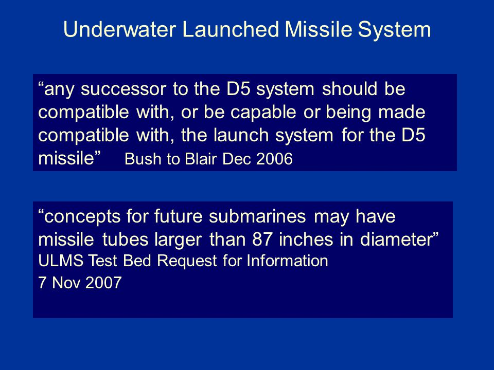 Underwater Launched Missile System