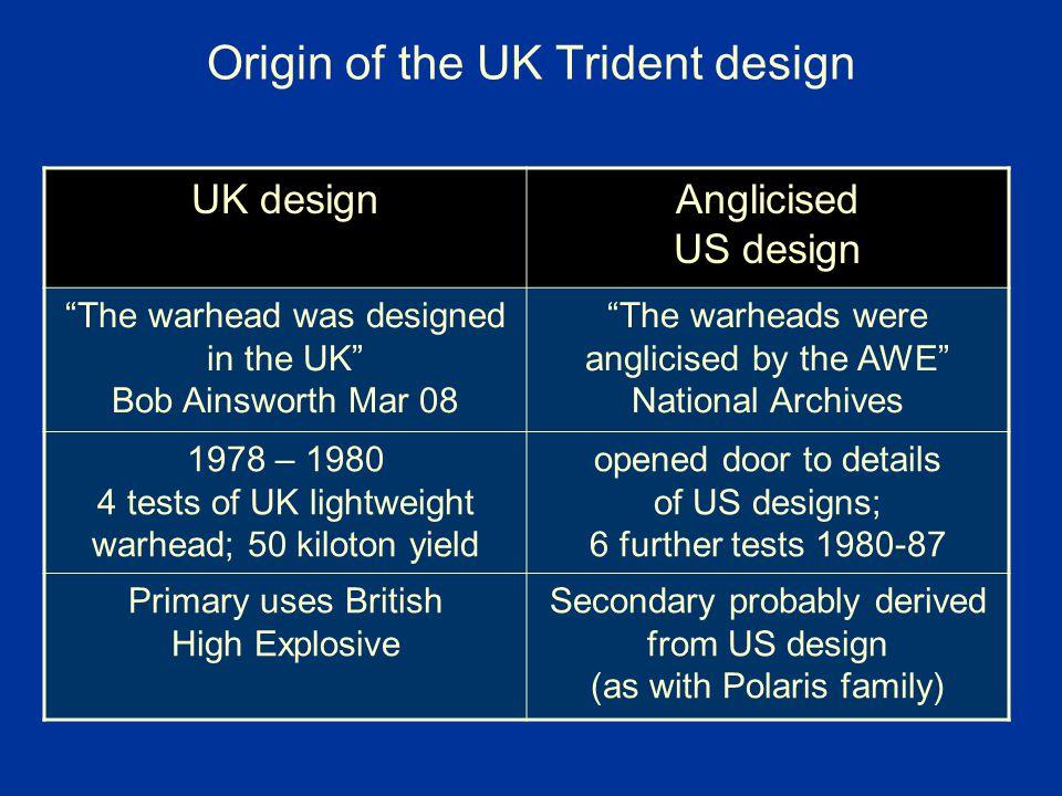 Origin of the UK Trident design