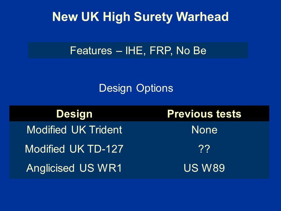 New UK High Surety Warhead
