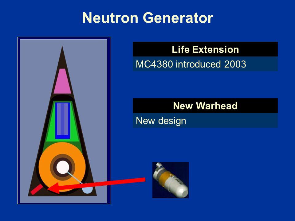 Neutron Generator Life Extension MC4380 introduced 2003 New Warhead