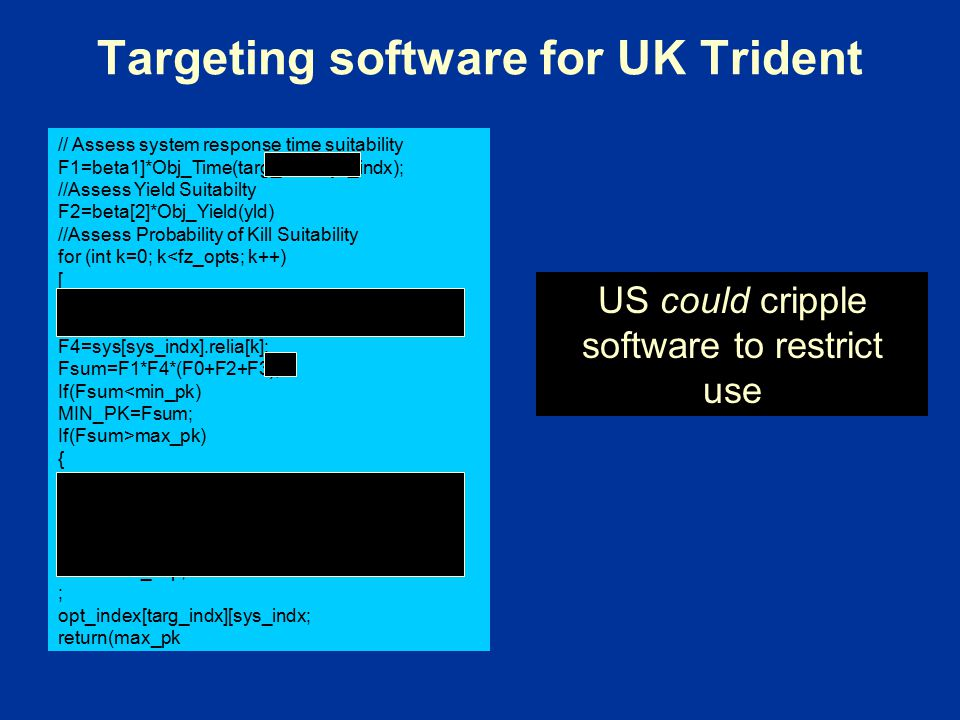 Targeting software for UK Trident