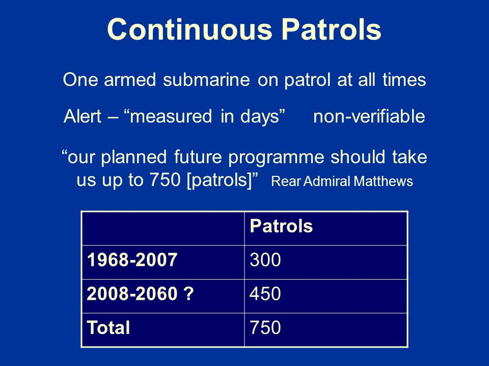 Continuous Patrols One armed submarine on patrol at all times