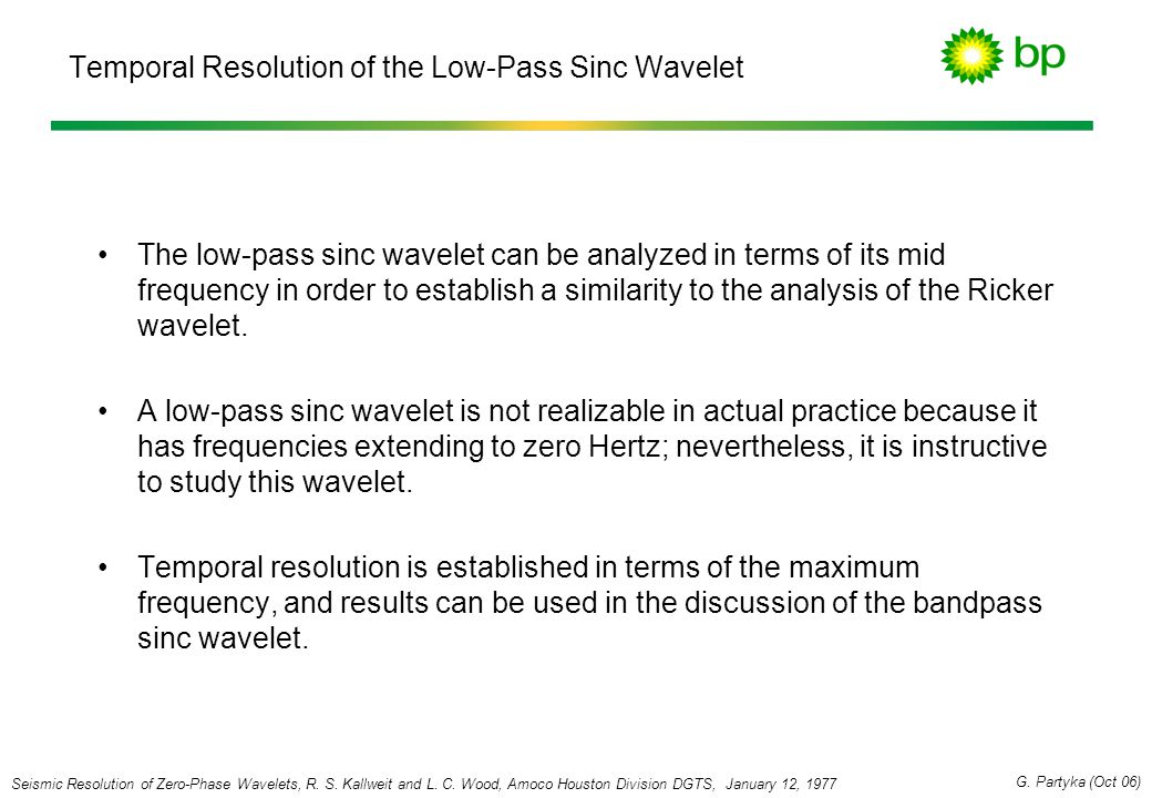 Temporal Resolution of the Low-Pass Sinc Wavelet