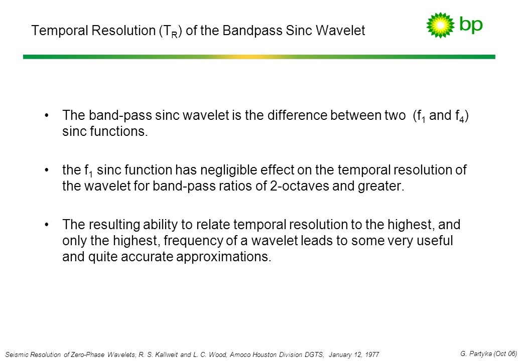 Temporal Resolution (TR) of the Bandpass Sinc Wavelet