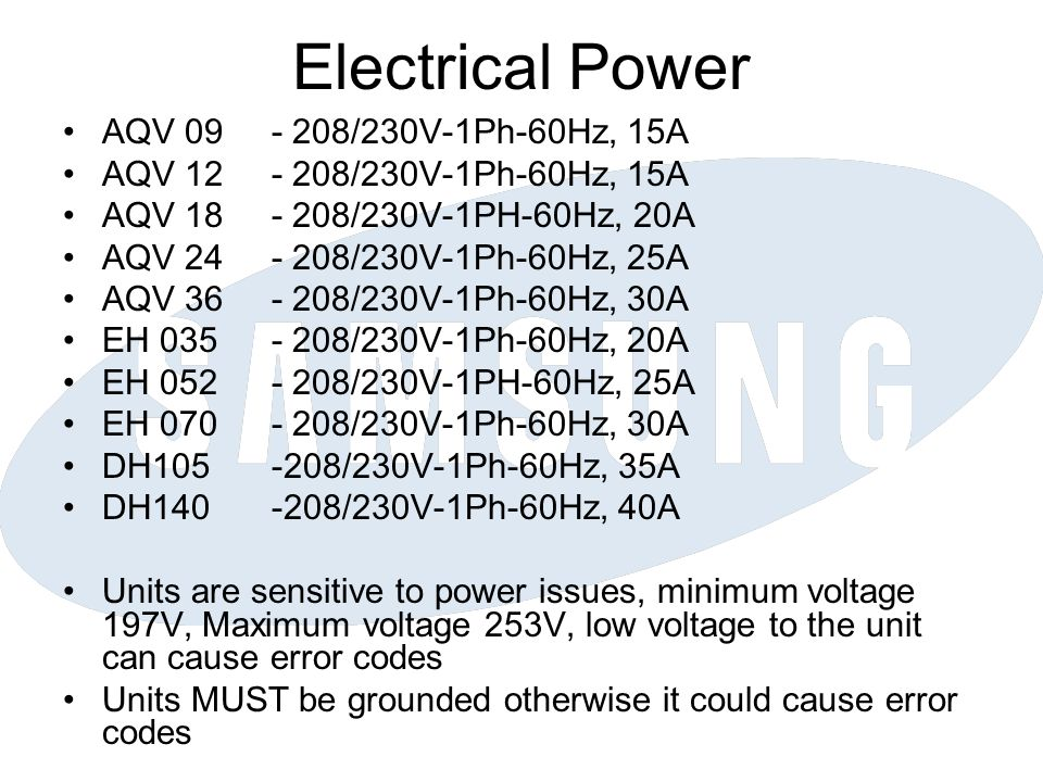 Electrical Power AQV 09 - 208/230V-1Ph-60Hz, 15A