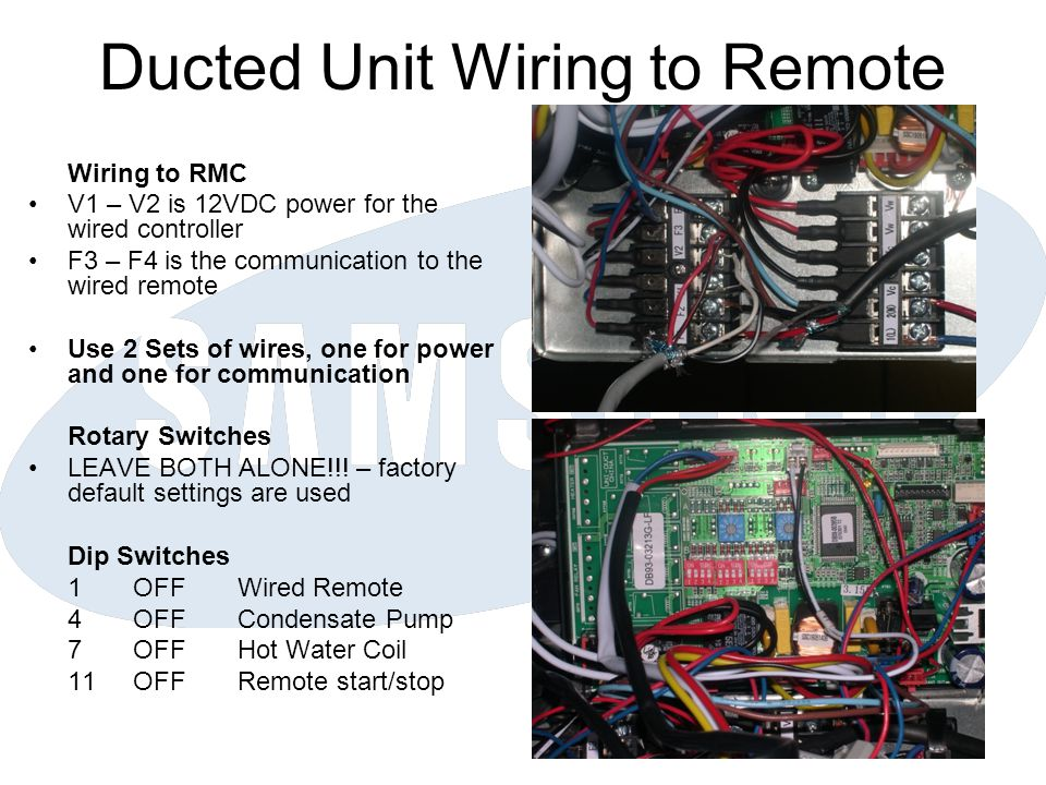 Ducted Unit Wiring to Remote
