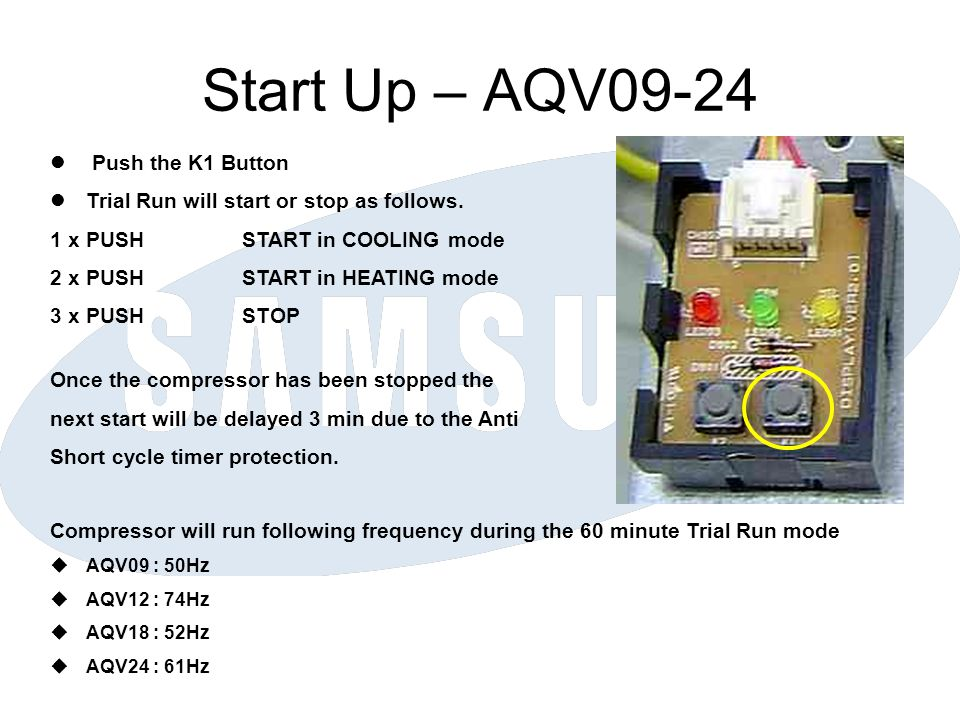 Start Up – AQV09-24 Push the K1 Button