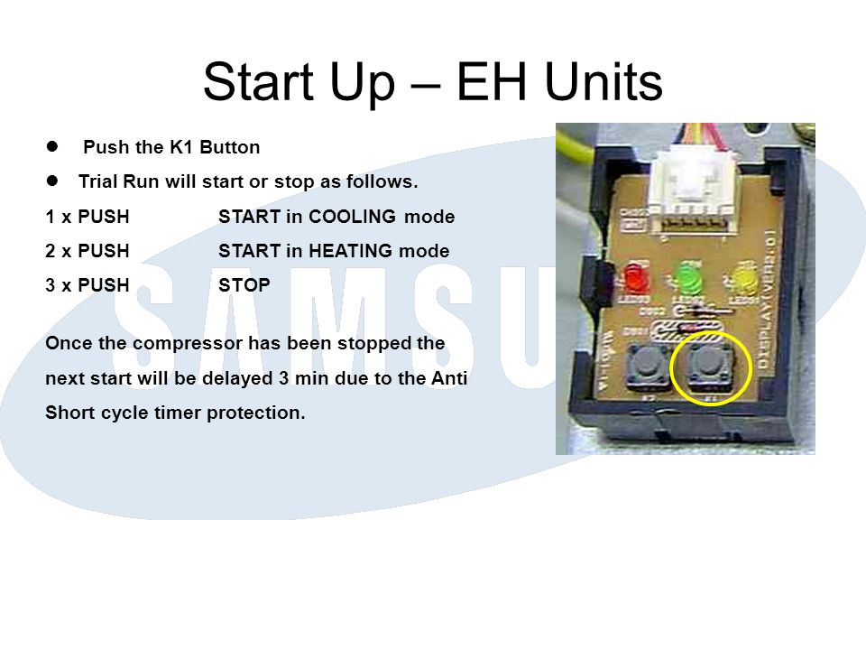 Start Up – EH Units Push the K1 Button