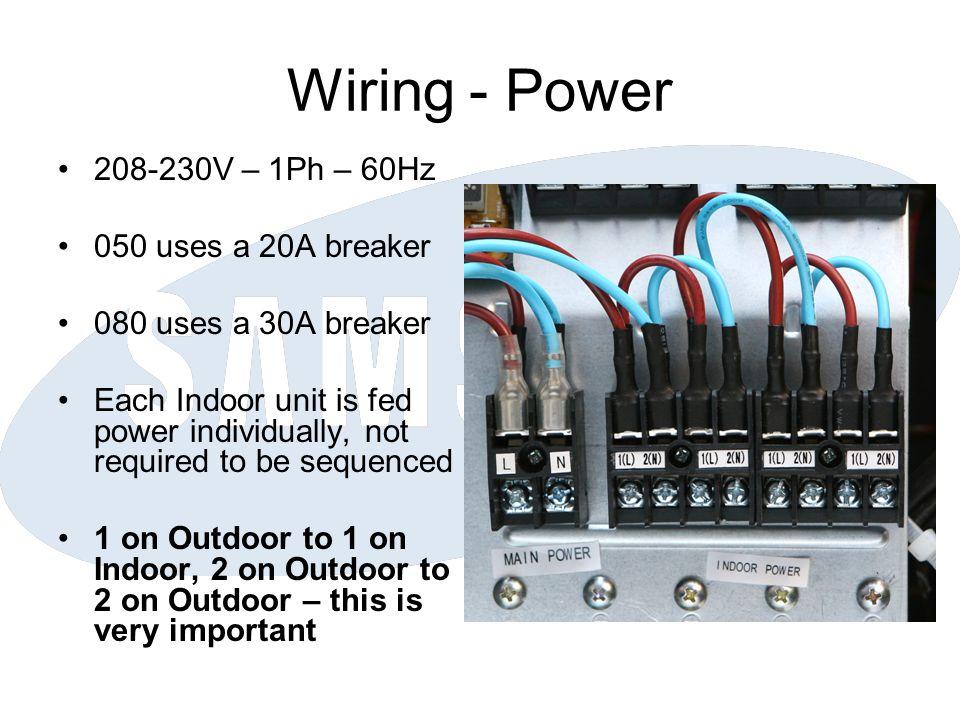Wiring - Power 208-230V – 1Ph – 60Hz 050 uses a 20A breaker