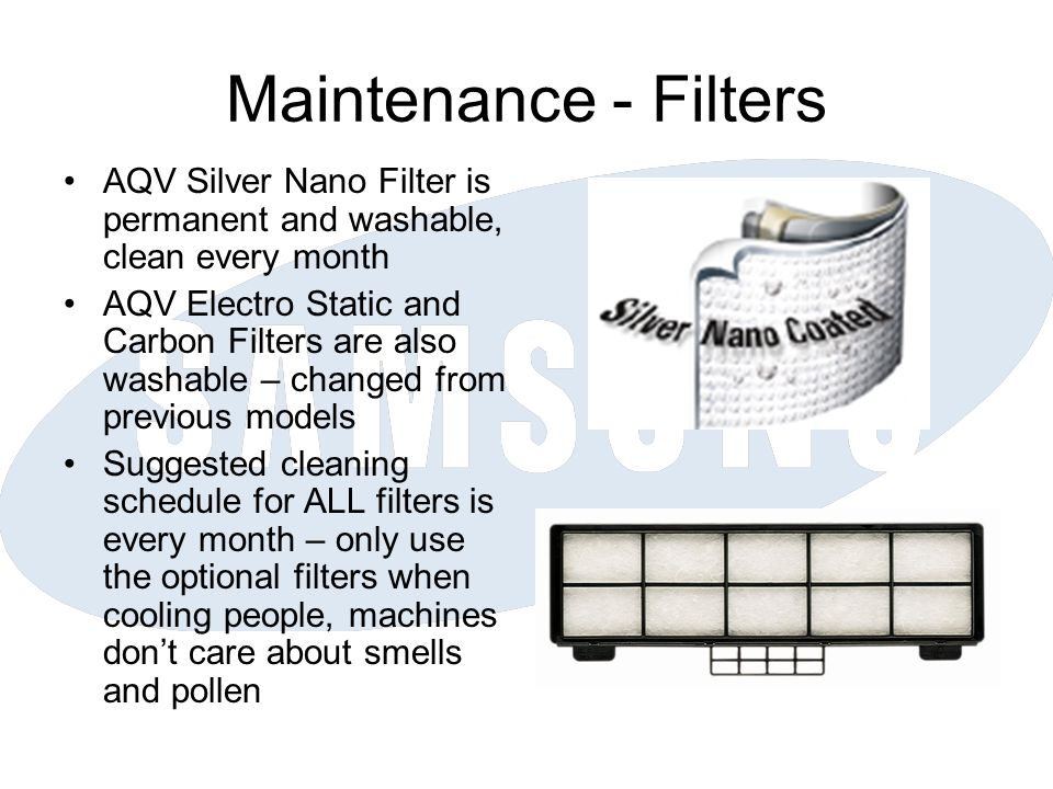 Maintenance - Filters AQV Silver Nano Filter is permanent and washable, clean every month.