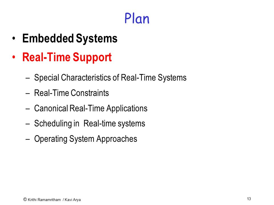 Plan Embedded Systems Real-Time Support