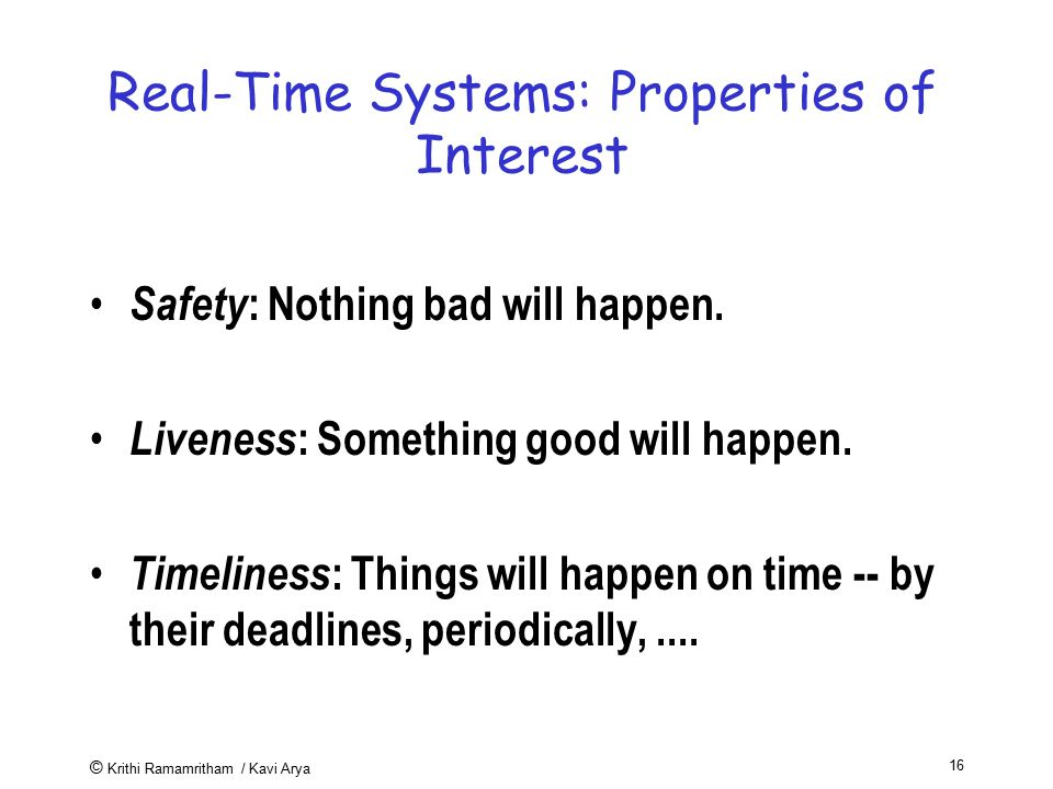 Real-Time Systems: Properties of Interest