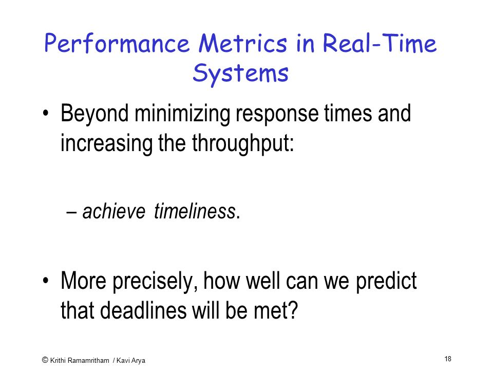 Performance Metrics in Real-Time Systems