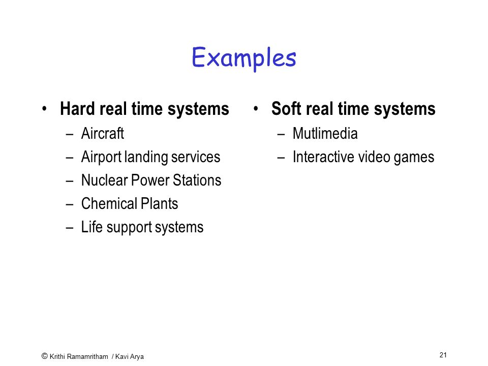 Examples Hard real time systems Soft real time systems Aircraft