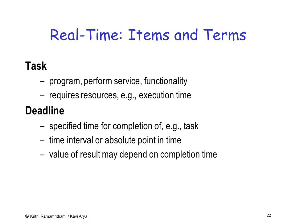 Real-Time: Items and Terms
