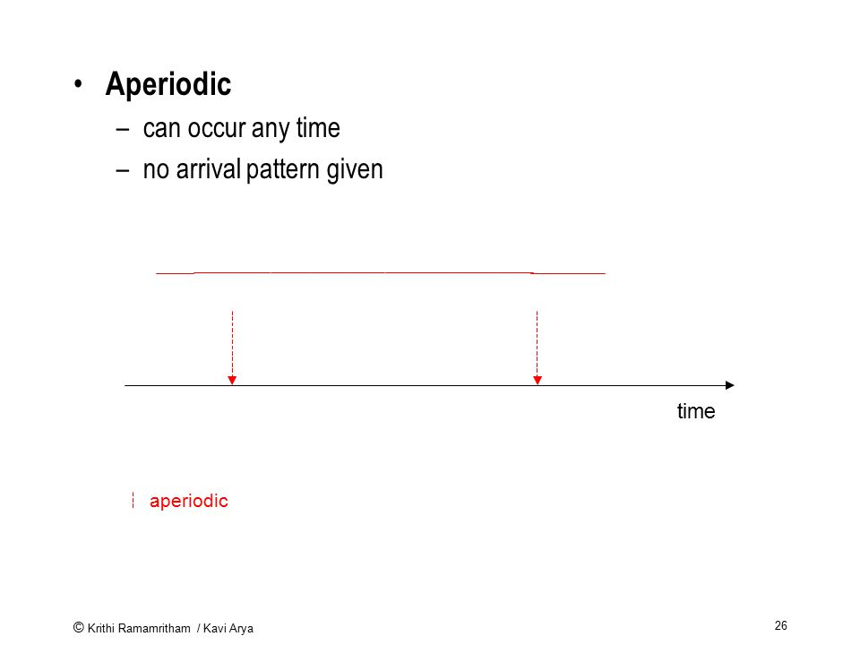 Aperiodic can occur any time no arrival pattern given time aperiodic
