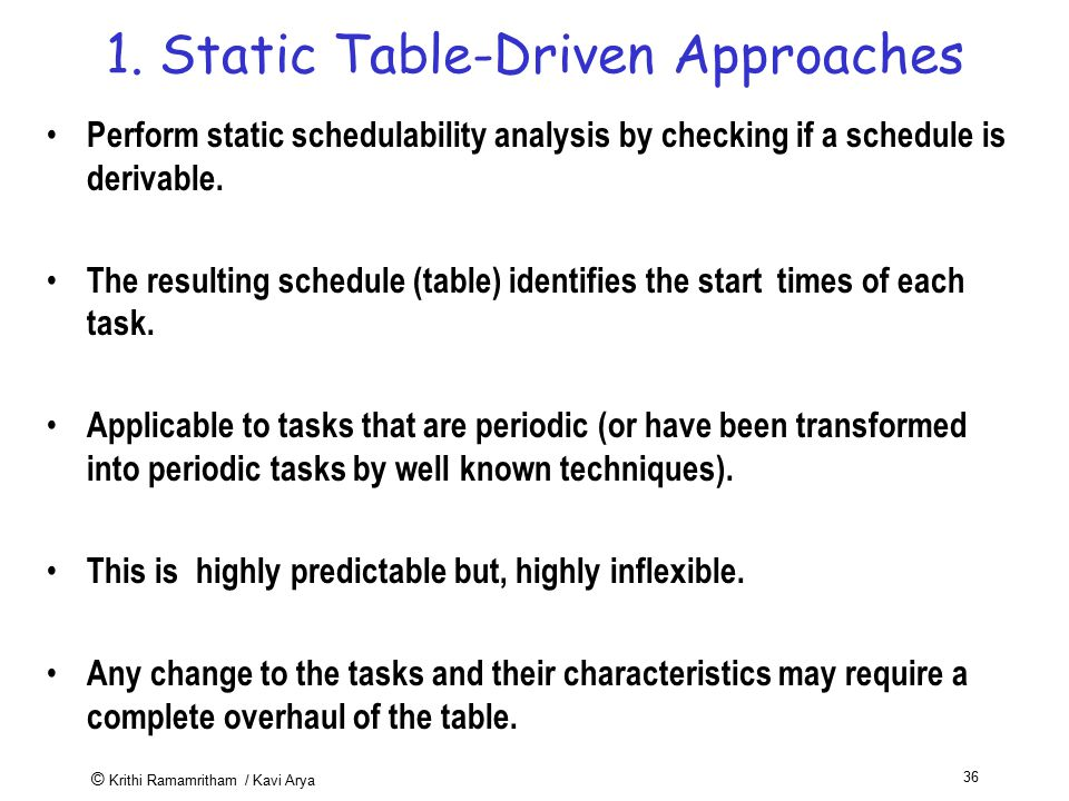1. Static Table-Driven Approaches