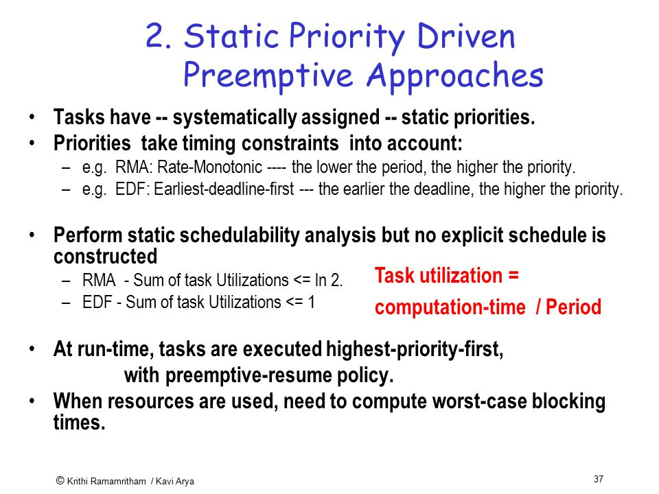2. Static Priority Driven Preemptive Approaches
