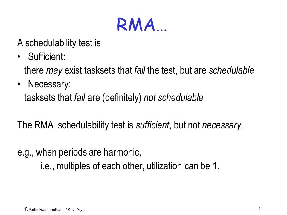 RMA… A schedulability test is Sufficient: